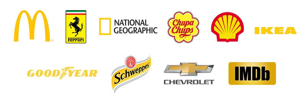 Exemplos de logo amarelo