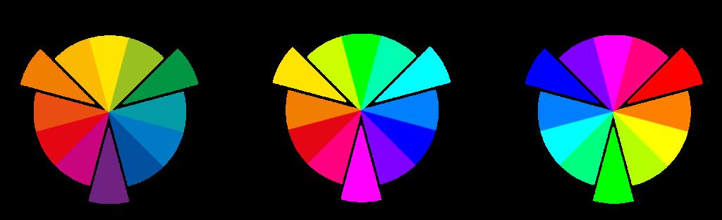 Secundárias do RYB, RGB e CMYK, respectivamente