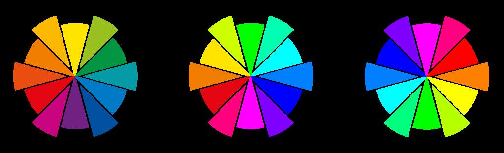 Terciárias do RYB, RGB e CMYK, respectivamente